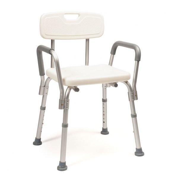 silla baño aluminio regulable en altura con resposabrazos y respaldo.