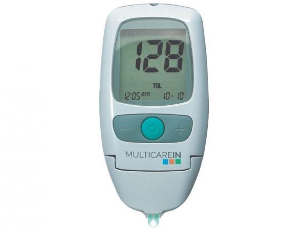 medidor de colesterol, glucosa y triglicéridos multicare in